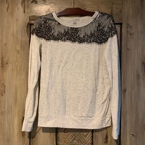 Halogen long sleeve tee with lace